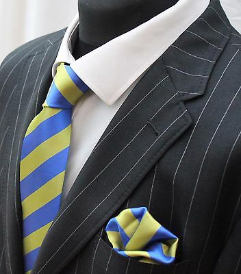 Tie Neck tie with Handkerchief Lime Green & Blue Broad Stripe