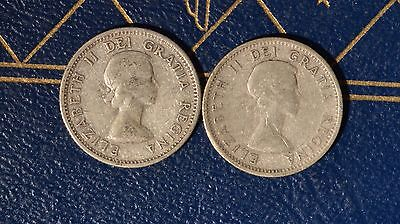 Canada 1953 10 CENTS - NSF and SF Varieties - 2 coins