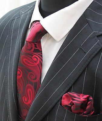 Tie Neck tie with Handkerchief Black With Red Swirl