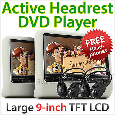 """2x 9"""" In Car LCD Monitor Active Headrest DVD Player Game Screen DivX USB SD AT"""