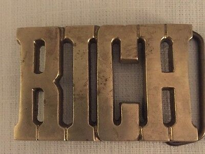 Vintage Brass BELT BUCKLE BARON Buckle Says RICH 1970's Name Or Term SOLID