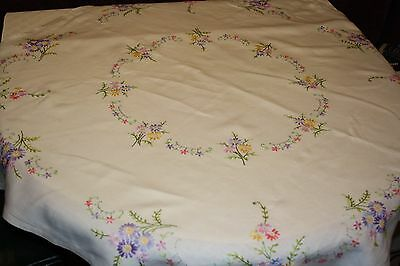 Vintage hand-embroidered tablecloth Summer picnic  White linen & rainbow flowers
