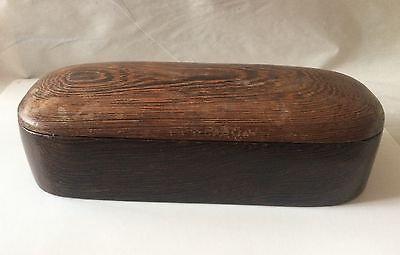 Wood Trinket Jewelry Box w/ Lid Vintage Antique Walnut Oblong