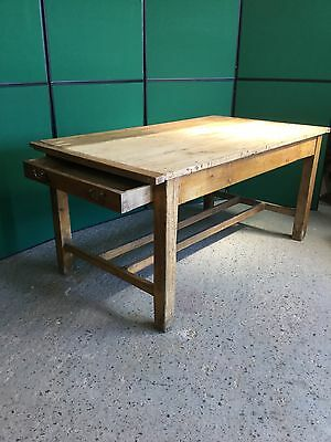 Antique Pine Kitchen Rustic Farmhouse Table With Drawer Either End