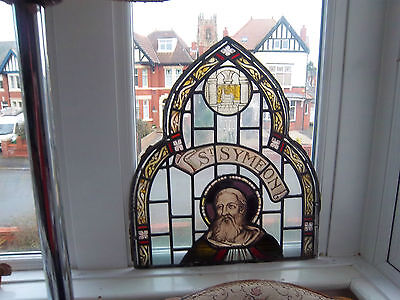 Antique Leaded Stained Glass Window St Symeon