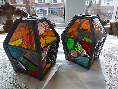 Arts And Crafts Pair Of Stained Glass Lanterns/light Shades
