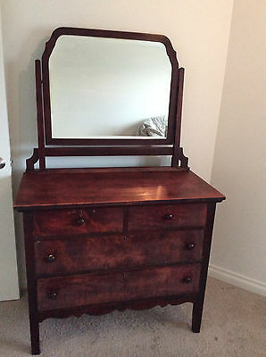 Antique Dresser Attached Mirror Vintage Wood Chest Drawers Dresser Vanity & Key