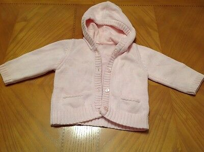 Girls Pink M&S Hooded Cardigan Age 6-9 Months