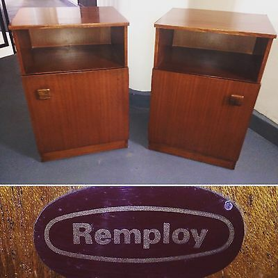 Vintage Mid Century Remploy Walnut Bedside Cabinets Pair