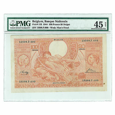 Belgium 20 Belgas Note  1944 100 Francs Pick #113 PMG 45 Net Choice Extra Fine