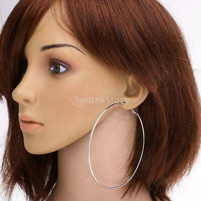 Silver Gold Large Big Round Hoop Drop Dangle Earrings Women's Jewelry Party Gift