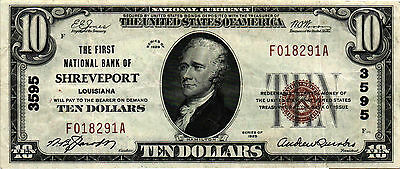 1929 TY 1 $10.00 National Currency - CH# 3595 - FNB of Shreveport, Louisiana