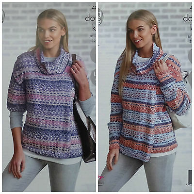 KNITTING PATTERN Ladies Easy Knit Cowl Neck Wrapover Cardigans DK King Cole 4856