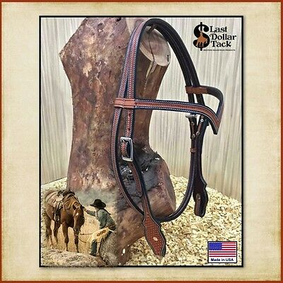 Western Headstall ~ Chestnut Leather Contoured 'v' Brow With Baby Basket Tooling