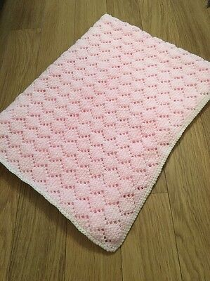 NEW gorgeous Large Pink hand knitted baby blanket