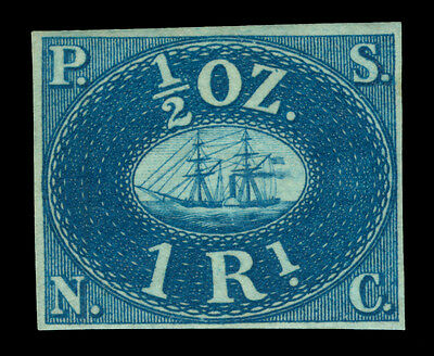 PERU 1857 PACIFIC STEAM NAVIGATION Co 1R blue Yv# 1a REPRINT- Only 800 printed