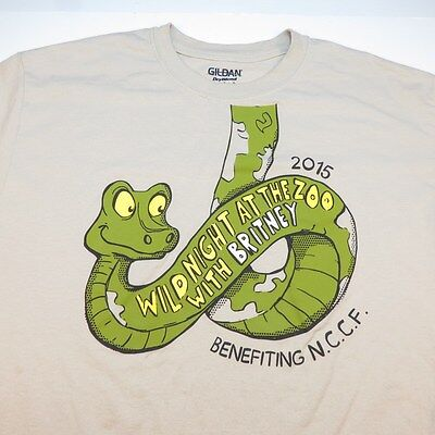 BRITNEY SPEARS ZAPPOS PRIVATE CONCERT WILD NIGHT AT THE ZOO T SHIRT Sz L snake