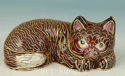 Chinese Old Red Cloisonne Collection Handmade Carved Cat Statue Figure Deco