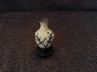 Cloisonne Small Vase - Blue, Gold & White 5cm height
