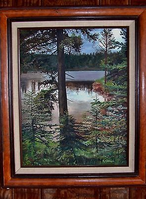 Oil painting on canvas, landscape, lake and forest, original and signed