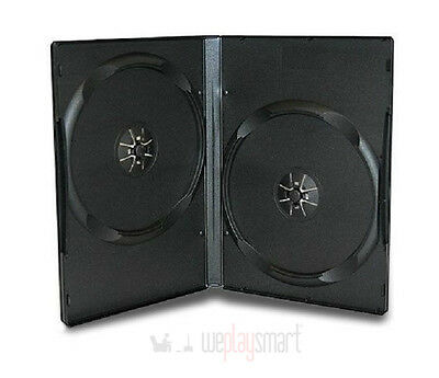 5 X Black Double DVD Replacement Cases Box Disc Standard 14mm (NEW, 2 Discs)