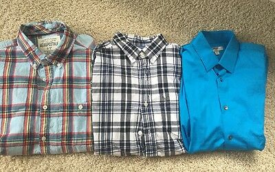 Lot Of 3 Express American Eagle, Aeropostale Men's Long Sleeve Dress Shirts - S