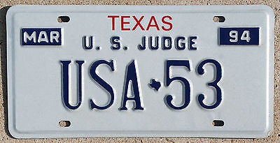 1994 Texas U.S. JUDGE license plate #USA-53