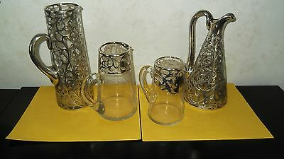 4 sterling silver overlay pitchers/no chips/missing silver. all 4 or any combo