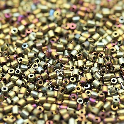 10gram 1.6x1.6mm Metallic Micro Pipes Czech Seed Beads - VINTAGE, RARE!!!
