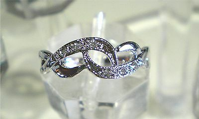 Intertwined ring - 18K white gold plated with Crystal Various Sizes