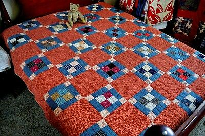 Antique 19th c Hand Stitched Calico Four Patch Quilt / Homespun Backing *