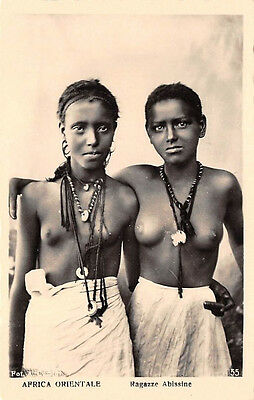 ETHIOPIA, AFRICA ,2 SEMI-NUDE YOUNG WOMEN WITH JEWELRY, REAL PHOTO PC c 1930's
