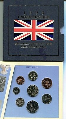 1995 United Kingdom Brilliant Uncirculated Coin Collection 8 coins Original Pack