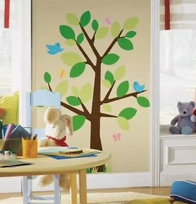 RoomMates - Peel & Stick Wall Decal Dotted Tree, Birds -NEW in Sealed Package