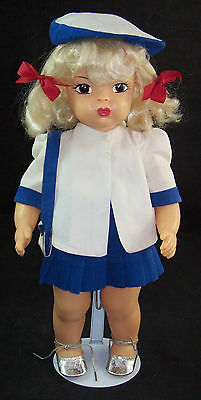 "Vintage Terri Lee 16"" Platinum Blonde Doll White & Blue Summer Suit Beret Purse"