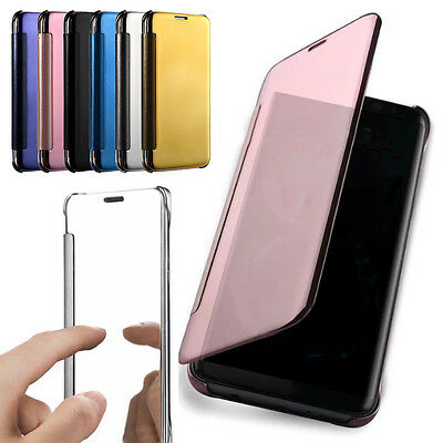 Luxury Mirror Smart Clear View Flip Leather Slim Case For Huawei Samsung Xiaomi