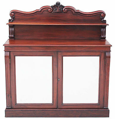Antique quality 19C Regency mahogany chiffonier sideboard cupboard