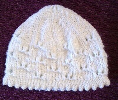 **NEW** hand knitted baby hat / beanie white picot edging