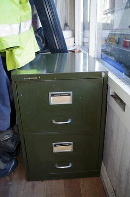 Vintage Retro Industrial Metal Roneo Vickers Filing Cabinet Two Drawers