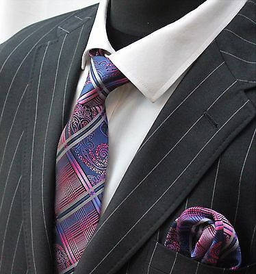 Tie Neck tie with Handkerchief Blue Pink & Silver Checks & Swirls
