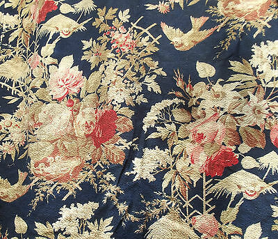 Stunning Antique French Fabric Humming Birds Chinoiserie Vintage Material