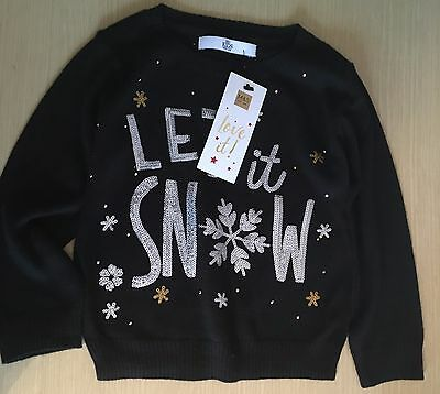 BNWT New Marks Spencer M&S Black Christmas Jumper - 12-18 Months - Let it Snow