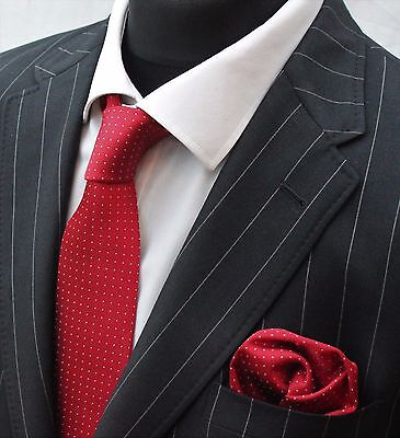 Tie Neck tie with Handkerchief Plum Red with White Pin Spot