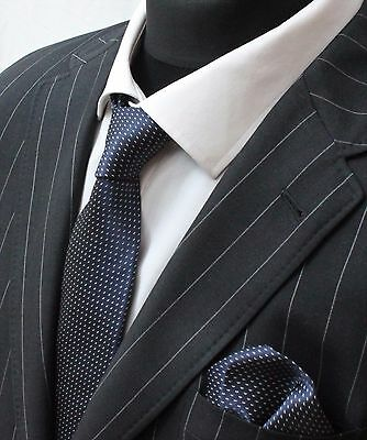Tie Neck tie with Handkerchief Navy Blue with White Fleck