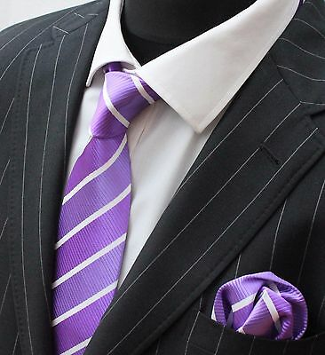 Tie Neck tie with Handkerchief Two Shade Purple with White Stripe