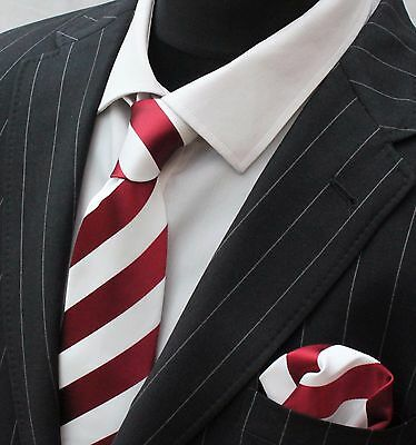 Men's Tie & Handkerchief Set Burgundy & Pure White Broad Stripe LUC254
