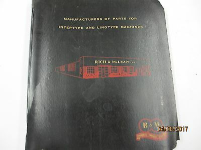Rich & McLean LINOTYPE PARTS CATALOG, Kenilworth New Jersey
