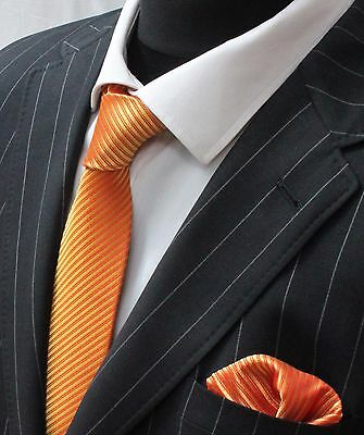Tie Neck tie with Handkerchief Shimmering Gold With Red Stripe