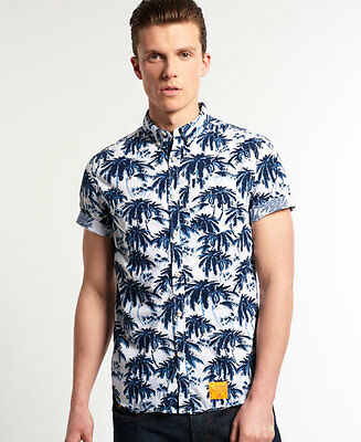New Mens Superdry Southbank Surf Shirt Cali Palms Optic