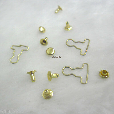 1/6 Bjd Doll Dress DIY Craft 4mm Mini Overall Suspender Buckle GOLD (10 Sets)